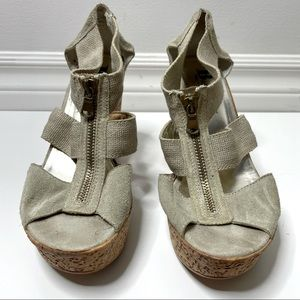 Browns wedges with zipper open toe sandals - size 37